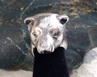 Big Heavy GRIZZLY BEAR Face Head Sterling Silver Ring Unique! STATEMENT Adjustable Design