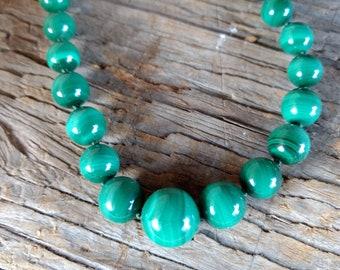 MALACHITE Graduated Beads Chakra Necklace All Natural Semi-Precious Stones Healing Metaphysical
