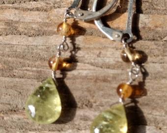 GREEN GARNET Drops w/ CITRINE Gemstone Earrings Sterling Silver Natural Stone