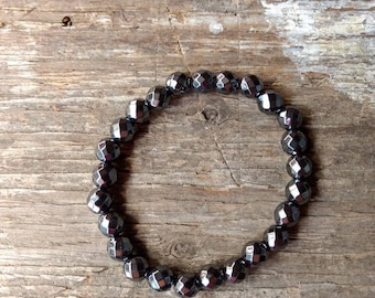HEMATITE (Faceted) Chakra Stretch Bracelet All Natural Semi-Precious Stones Healing Metaphysical