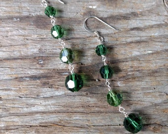 SWAROVSKI: 2 Shades of Greens Crystal Colorful Wedding Prom Earrings Sterling Silver