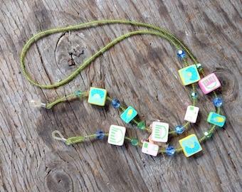 SALE: Whimsical PURSE PHONE Pink Blue Green Yellow Fimo Polymer Clay, Glass & Swarovski Beads Eyeglass Chain