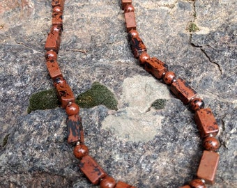 Mahogany Obsidian Natural Gemstone Sterling Silver Necklace