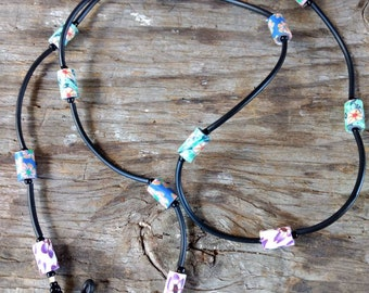 SALE: Whimsical MULTI-COLORED Fimo Polymer Clay, Glass Beads, Rubber Tubing Eyeglass Chain
