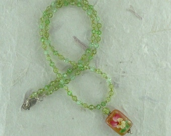 Floral Painted Carnelian Pendant with Natural Peridot & Swarovski Crystal Necklace