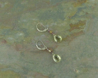 SMOKY QUARTZ FACETED Drops w/ Citrine & Garnet Gemstone Earrings Sterling Silver Natural Stone