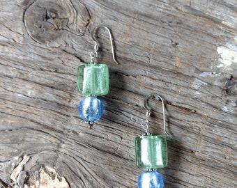SALE: Venetian Glass GREEN & BLUE Silver Foil Lampwork w/ Sterling Silver Earrings