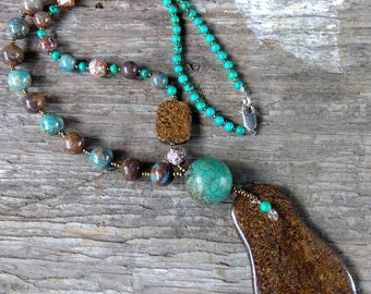 Bronzite, Blue Sky Jasper, Turquoise Asymmetrical Chakra Necklace All Natural Semi-Precious Stones Healing Metaphysical