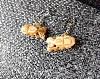 SALE: Fun FISH SWIMMING Carved Bone Golden Horn Sterling Silver Earrings