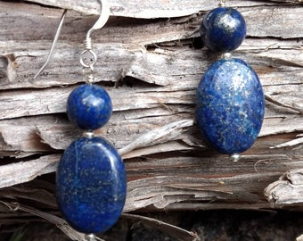 LAPIS LAZULI Gemstone Earrings Sterling Silver Natural Stone