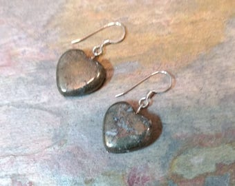 PYRITE HEART Gemstone Earrings Sterling Silver Natural Stone