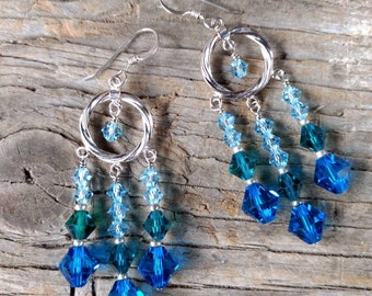 CHANDELIER EARRINGS: Blue & Green Swarovski Crystal Colorful Wedding Prom Sterling Silver