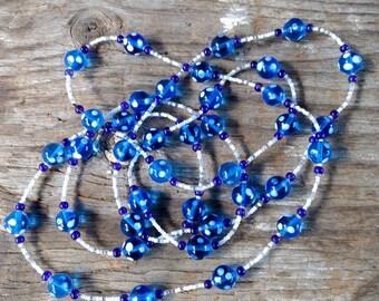 SALE: Fun BLUE & WHITE Eye Beads Long Lampwork Glass Necklace