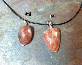 OREGON SUNSTONE (Faceted) Natural Bead Pendant w/Sterling Silver on Rubber Cord Necklace