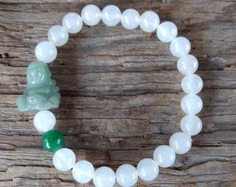 White Quartz & Green AVENTURINE Buddha Chakra Stretch Bracelet All Natural Semi-Precious Stones Healing Metaphysical