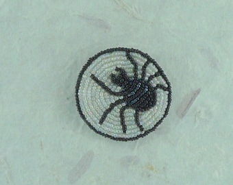 SPIDER Hand-stitched Glass Seedbead Beaded Pin Brooch
