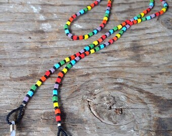 SALE: Pretty RAINBOW CHAKRA (Bright) Frosted Glass Beads Eyeglass Chain