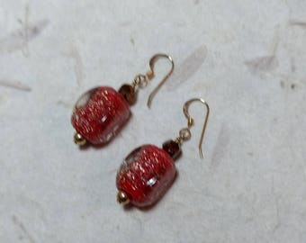 SALE: VINTAGE Venetian Glass RED & Gold Lampwork, Vintage Crystal w/ Gold Filled Earrings
