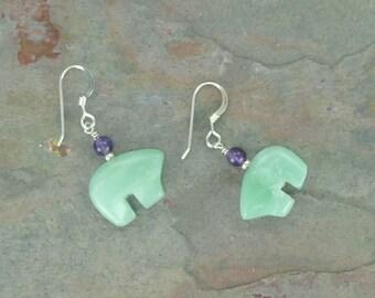 Bear Fetish Zuni Gemstone Earrings Sterling Silver Amazonite & Amethyst