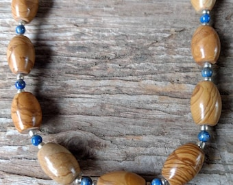 Scenic Jasper & Lapis Lazuli Chakra Necklace All Natural Semi-Precious Stones Healing Metaphysical