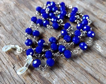 COBALT BLUE, Czech Glass Beads, Linked Silver Wire Eyeglass Chain