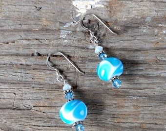 SALE: Swirl Glass Light BLUE & WHITE Matte Lampwork Swarovski Crystal w/ Sterling Silver Earrings
