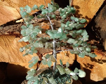 GREEN AVENTURINE Gemstone Tree Handmade Natural Semi-Precious Stones Healing Metaphysical