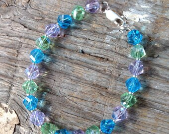 SALE: Sea Colors Swarovski Crystal Turquoise Peridot Lilac Colorful Bracelet Sterling Silver