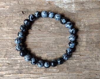 SNOWFLAKE OBSIDIAN Chakra Stretch Bracelet All Natural Semi-Precious Stones Healing Metaphysical