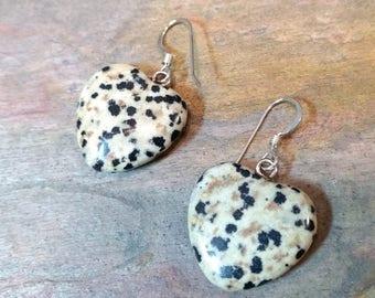 DALMATIAN JASPER HEART Gemstone Earrings Sterling Silver Natural Stone