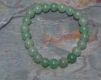 GREEN AVENTURINE (LIGHT) Chakra Stretch Bracelet All Natural Semi-Precious Stones Healing Metaphysical