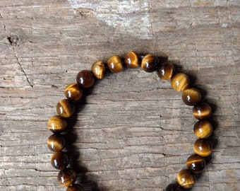 TIGEREYE (BROWN) Chakra Stretch Bracelet All Natural Semi-Precious Stones Healing Metaphysical