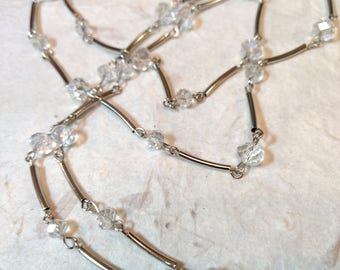 SALE: CLEAR CRYSTAL Beads, Czech Glass Beads, Linked Silver Wire Eyeglass Chain
