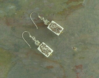 Earrings: BULL TAURUS Hand Painted with Dalmatian Stone Sterling Silver