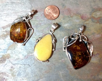 Genuine BALTIC AMBER STERLING Silver Pendant Choose From Those Shown