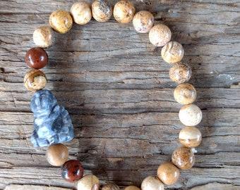 Picture Jasper & Mahogany Obsidian w/ Lapis Buddha Chakra Stretch Bracelet All Natural Semi-Precious Stones Healing Metaphysical