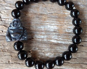 BLACK ONYX w/HEMATITE Buddha Chakra Stretch Bracelet All Natural Semi-Precious Stones Healing Metaphysical