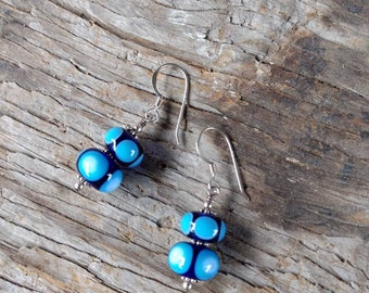 SALE: Blue & White Polka Dot Lampwork Sterling Silver Earrings