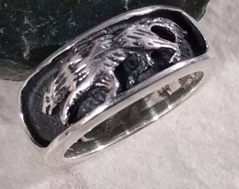WOLF DIREWOLF Sterling Silver Ring Unique CHOOSE Size 6-9