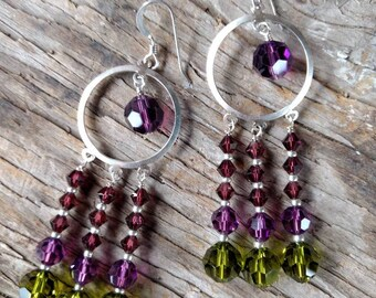 CHANDELIER EARRINGS: Olivine, Amethyst, Burgundy Swarovski Crystal Colorful Wedding Prom Sterling Silver
