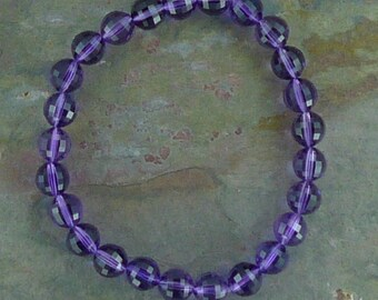 AMETHYST (Faceted) Chakra Stretch Bracelet All Natural Semi-Precious Stones Healing Metaphysical