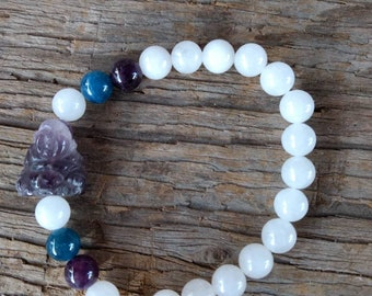 WHITE Quartz  & APATITE w/ AMETHYST Buddha Chakra Stretch Bracelet All Natural Semi-Precious Stones Healing Metaphysical