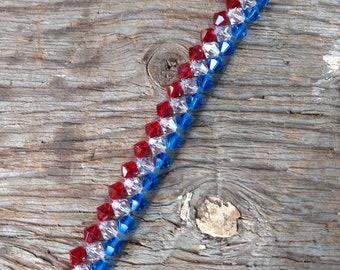 Patriotic USA Swarovski Crystal Woven Colorful Red White Blue Bracelet Sterling Silver