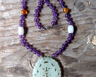 Beautiful Carved SERPENTINE Pendant w/ Amethyst, Baltic Amber, Jade NECKLACE