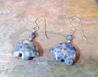 DENIM LAPIS Bear Fetish Zuni Gemstone Earrings Sterling Silver