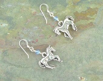 Prancing Pony Horse Cowgirl w/ Swarovski Cyrstal CHOOSE COLOR Sterling Silver Earrings