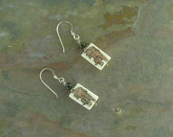 Earrings: TIGER Hand Painted with Green Hawkeye Stone Sterling Silver
