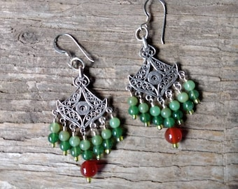CHANDELIER EARRINGS: JADE Aventurine Carnelian Gemstone Colorful Wedding Prom Natural Stone Sterling Silver