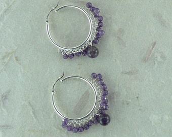 AMETHYST Sterling Silver Hoop Gypsy Fringe Earrings