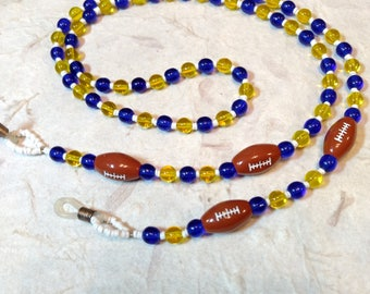 SALE: Team Spirit FOOTBALL Blue & Gold Team Glass Beads Eyeglass Chain